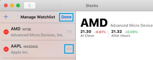 Reorder Stocks in Watchlist in Stocks App For Mac