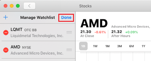Save Changes to Watchlist in Stocks App For Mac