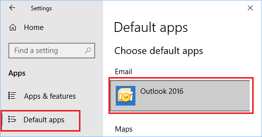 Select Default Email Client Using Settings