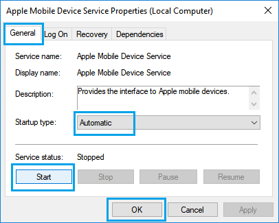Start Apple Mobile Device Service in Windows 10