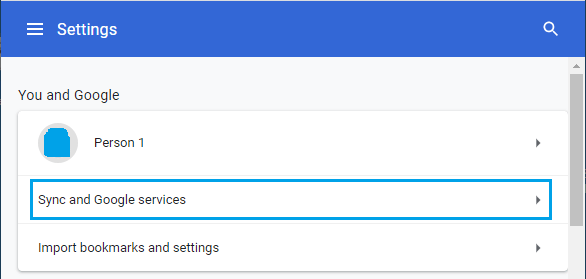 Sync and Google Services Settings Option in Chrome