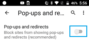 Block Pop-ups and Redirects in Chrome on Android Phone
