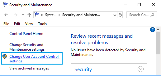 Change User Account Control settings Option in Windows