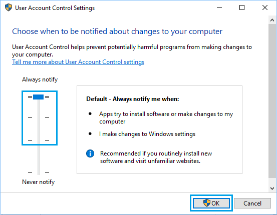 Choose When to be Notified About Changes to Computer