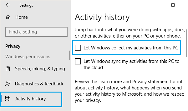 Prevent Windows 10 From Collecting Activity History in Windows 10