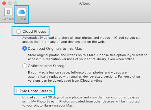 Disable iCloud Photos and My Photo Stream on Mac