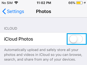 Disable iCloud Photos on iPhone