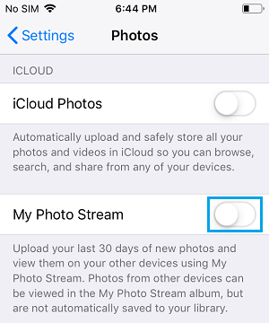 Disable My Photo Stream on iPhone
