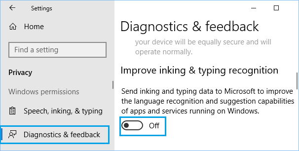 Disable Sending of Inking and Typing Data to Microsoft
