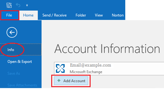Add Account Option in Microsoft Outlook