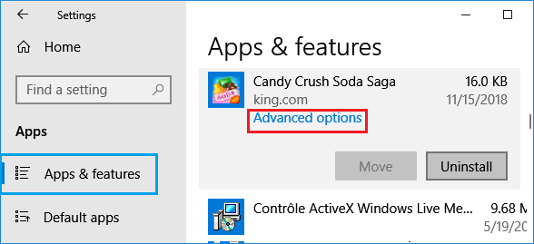 Open Advanced Options For App in Windows 10