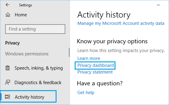 Privacy Dashboard Link in Windows 10