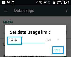Set Data Usage Limit Option On Android Phone