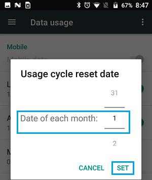 Set Data Usage Cycle Start Date on Android Phone