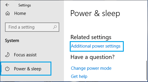 Additional Power Settings Option On Windows Settings Screen