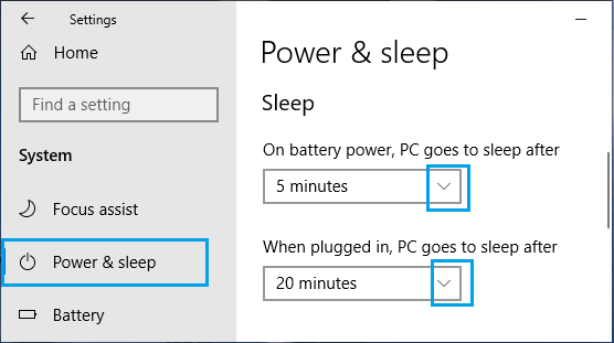 Set Sleep Timings On Windows PC