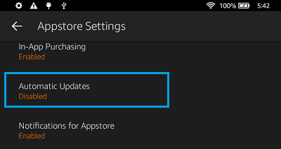 Automatic App Updates Option on Kindle Fire