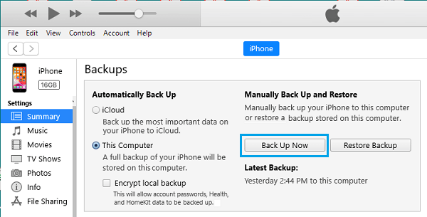 Backup iPhone to Windows PC