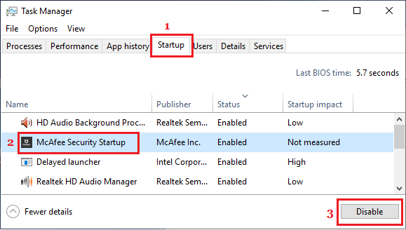 Stop App From Opening At Startup in Task Manager