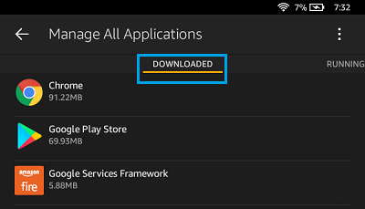 Downloaded Apps on Kindle Fire Tablet