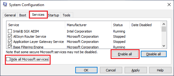 Enable All Services on Windows PC Using System Configuration