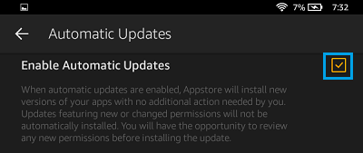 Enable Automatic Updates on Kindle Fire