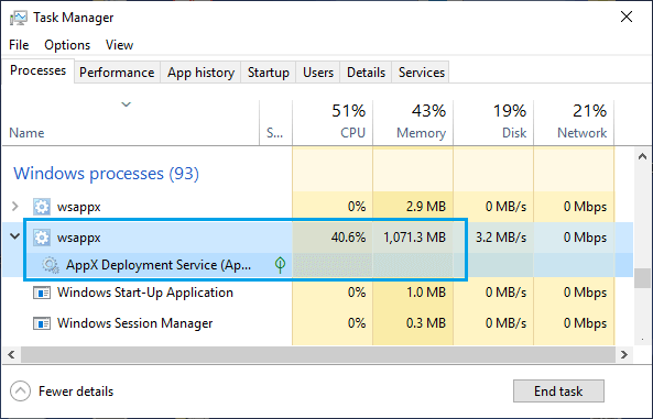 High CPU Usage By WSAPPX in Windows Task Manager