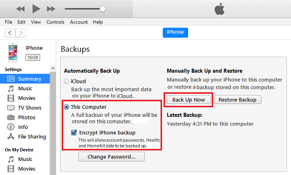 Make Encrypted Backup of iPhone on Computer
