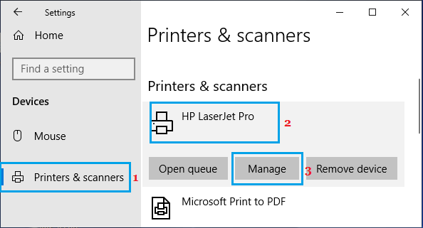 Manage Printers Option in Windows 10