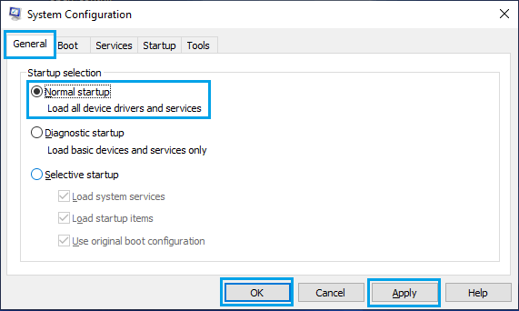 Normal Startup Option on Windows System Configuration Screen