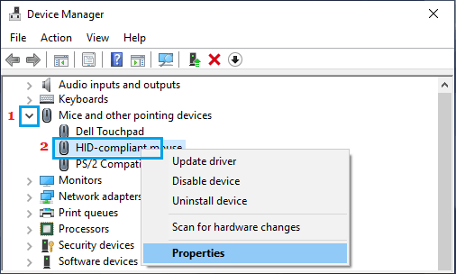 Open Mouse Driver Properties