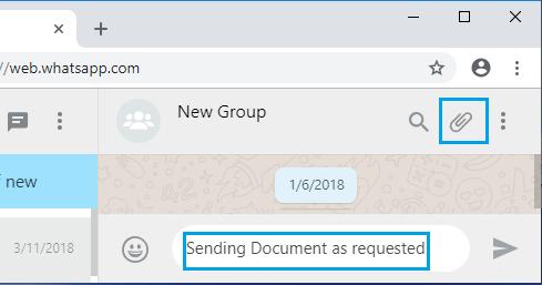 File Attachment Icon on WhatsApp Web