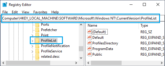 Navigate to HKEY_LOCAL_MACHINE\SOFTWARE\Microsoft\Windows NT\CurrentVersion\ProfileList