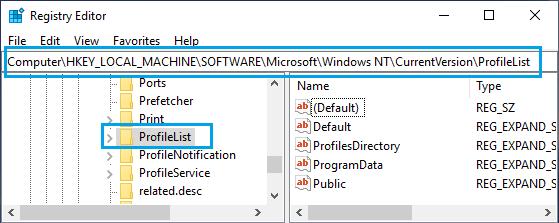 Navigate to HKEY_LOCAL_MACHINE\SOFTWARE\Microsoft\Windows NT\CurrentVersion\ProfileList