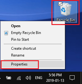 Open Recycle Bin Properties in Windows 10