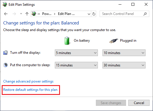Restore Default Power Settings Option in Windows 10