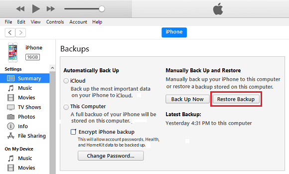Restore iPhone Backup option in iTunes