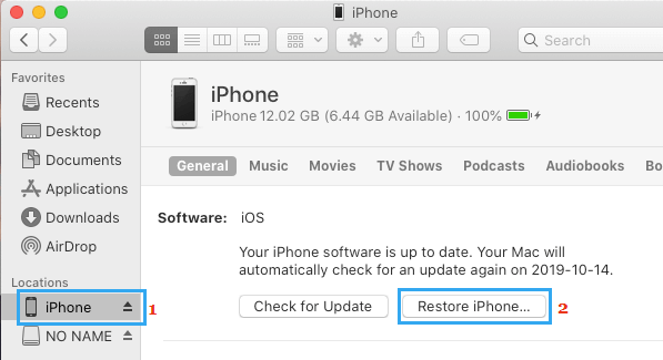 Restore iPhone on Mac