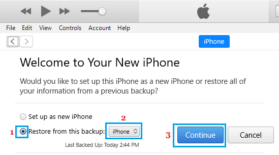 Restore iPhone from Backup on Windows PC