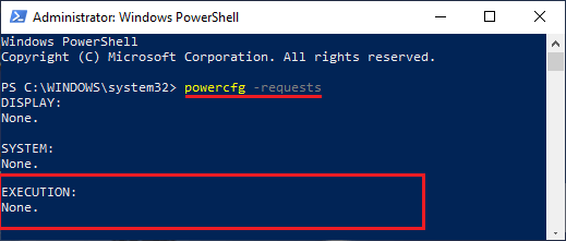 Run powercfg -requests Command