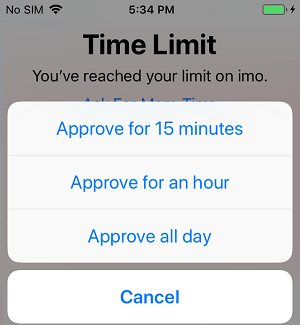 Screen Time App Unlock Options on iPhone