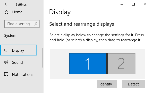 Select Display to Change Settings