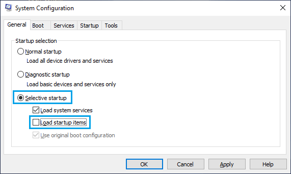 Selective Startup Option on System Configuration Screen
