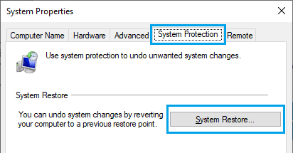 System Restore Option in Windows 10