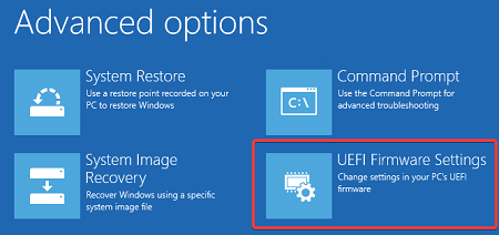 Open UEFI Firmware Settings option in Windows