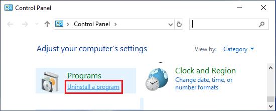 Uninstall Program Option in Control Panel