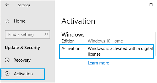 Check Windows 10 Activation Status