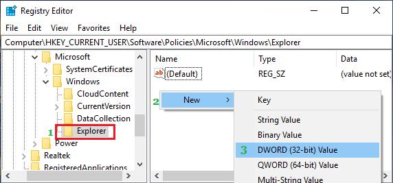 Create New DWORD in Windows Explorer Folder