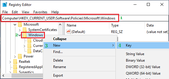 Create New Registry Key in Windows Folder