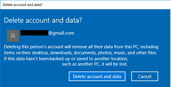 Delete Microsoft User Account & Data From Windows 10 PC